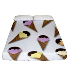 Ice Cream Pattern Fitted Sheet (queen Size)