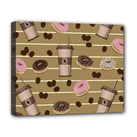 Coffee And Donuts  Deluxe Canvas 20  X 16   by Valentinaart