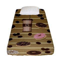 Coffee And Donuts  Fitted Sheet (single Size) by Valentinaart