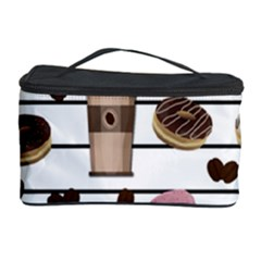 Donuts And Coffee Pattern Cosmetic Storage Case by Valentinaart