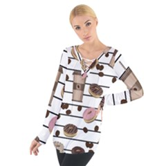 Donuts And Coffee Pattern Women s Tie Up Tee