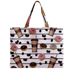 Donuts And Coffee Pattern Medium Zipper Tote Bag by Valentinaart