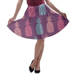 Pineapple Pattern  A-line Skater Skirt by Nexatart