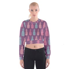 Pineapple Pattern  Women s Cropped Sweatshirt by Nexatart