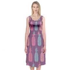 Pineapple Pattern  Midi Sleeveless Dress by Nexatart
