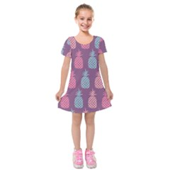 Pineapple Pattern  Kids  Short Sleeve Velvet Dress by Nexatart