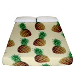 Pineapple Wallpaper Pattern Fitted Sheet (king Size) by Nexatart