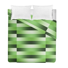Pinstripes Green Shapes Shades Duvet Cover Double Side (full/ Double Size) by Nexatart