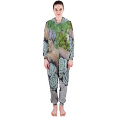 Plant Succulent Plants Flower Wood Hooded Jumpsuit (ladies)  by Nexatart