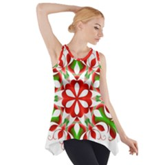 Red And Green Snowflake Side Drop Tank Tunic by Nexatart