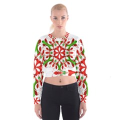 Red And Green Snowflake Women s Cropped Sweatshirt by Nexatart