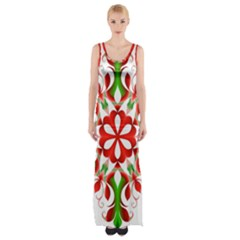 Red And Green Snowflake Maxi Thigh Split Dress
