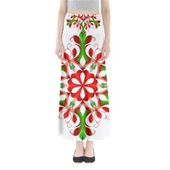 Red And Green Snowflake Maxi Skirts