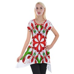 Red And Green Snowflake Short Sleeve Side Drop Tunic