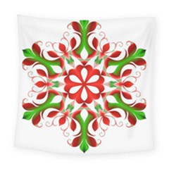Red And Green Snowflake Square Tapestry (large)