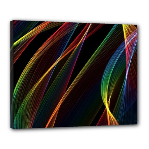 Rainbow Ribbons Canvas 20  X 16