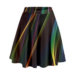 Rainbow Ribbons High Waist Skirt by Nexatart