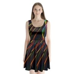 Rainbow Ribbons Split Back Mini Dress  by Nexatart