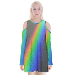 Rainbow Color Spectrum Solar Mirror Velvet Long Sleeve Shoulder Cutout Dress
