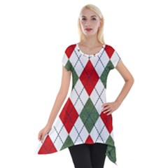 Red Green White Argyle Navy Short Sleeve Side Drop Tunic