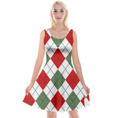 Red Green White Argyle Navy Reversible Velvet Sleeveless Dress by Nexatart