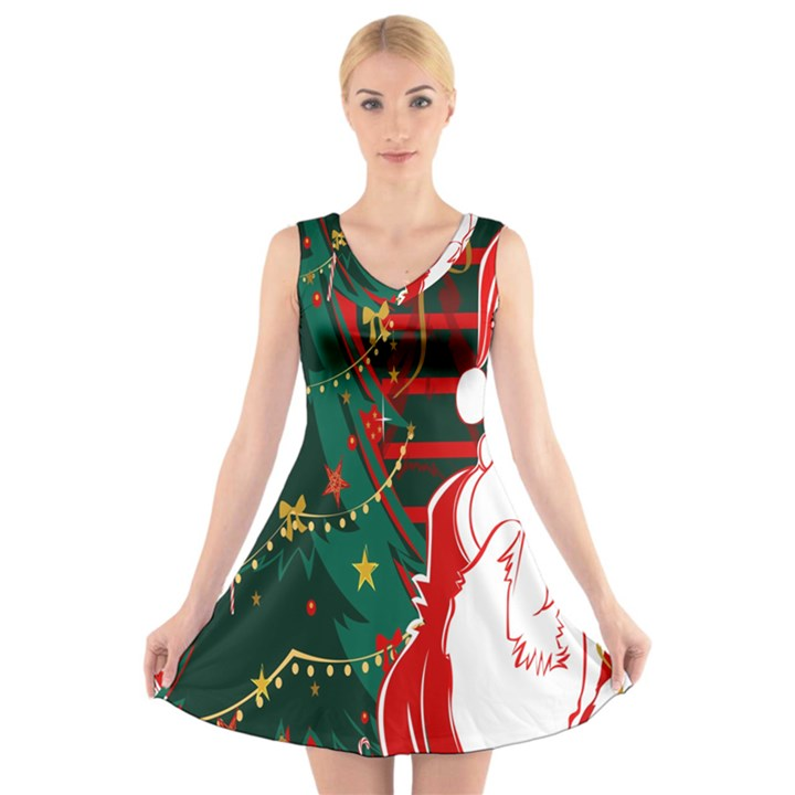 Santa Clause Xmas V-Neck Sleeveless Skater Dress
