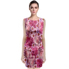 Roses Flowers Rose Blooms Nature Sleeveless Velvet Midi Dress by Nexatart