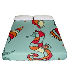 Seahorse Seashell Starfish Shell Fitted Sheet (queen Size) by Nexatart