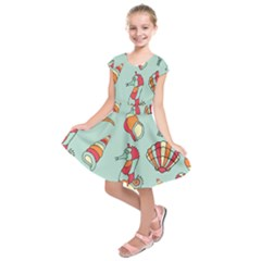 Seahorse Seashell Starfish Shell Kids  Short Sleeve Dress by Nexatart