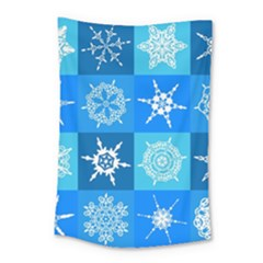 Seamless Blue Snowflake Pattern Small Tapestry by Nexatart