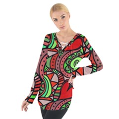 Seamless Tile Background Abstract Women s Tie Up Tee
