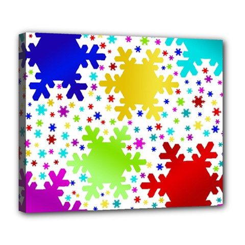 Seamless Snowflake Pattern Deluxe Canvas 24  X 20