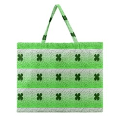 Shamrock Pattern Zipper Large Tote Bag by Nexatart