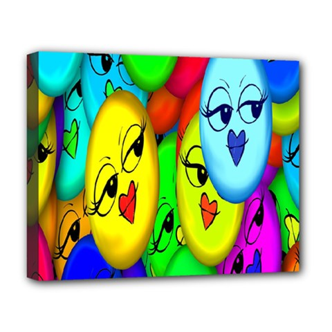 Smiley Girl Lesbian Community Deluxe Canvas 20  X 16   by Nexatart