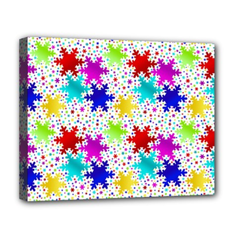 Snowflake Pattern Repeated Deluxe Canvas 20  X 16   by Nexatart