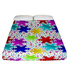 Snowflake Pattern Repeated Fitted Sheet (king Size) by Nexatart
