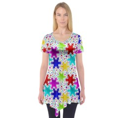 Snowflake Pattern Repeated Short Sleeve Tunic  by Nexatart