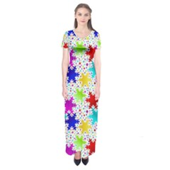 Snowflake Pattern Repeated Short Sleeve Maxi Dress