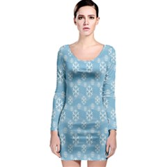 Snowflakes Winter Christmas Long Sleeve Bodycon Dress