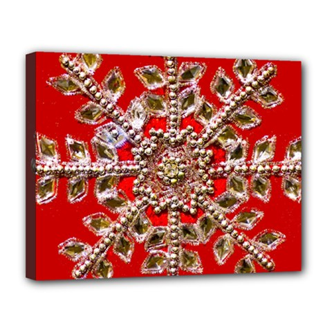 Snowflake Jeweled Canvas 14  X 11  by Nexatart