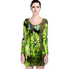 Spider Spiders Web Spider Web Long Sleeve Bodycon Dress