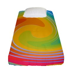 Rainbow Swirl Fitted Sheet (single Size) by OneStopGiftShop