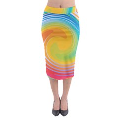 Rainbow Swirl Midi Pencil Skirt