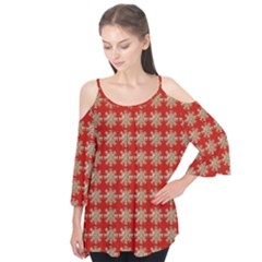 Snowflakes Square Red Background Flutter Tees