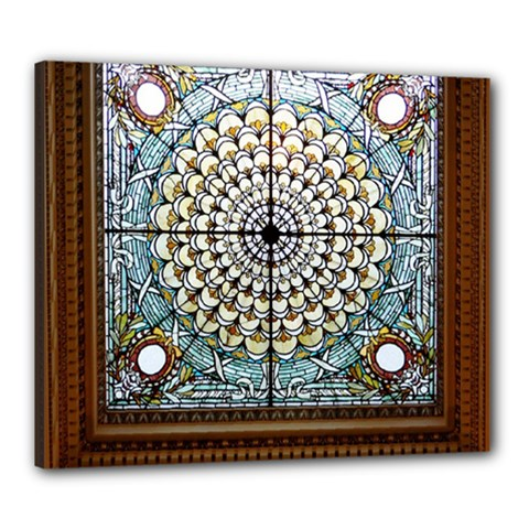 Stained Glass Window Library Of Congress Canvas 24  X 20  by Nexatart
