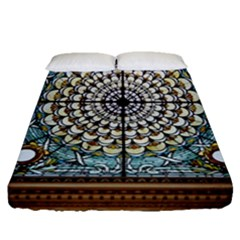 Stained Glass Window Library Of Congress Fitted Sheet (queen Size) by Nexatart