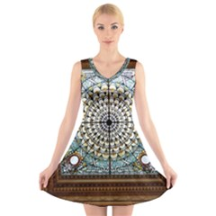 Stained Glass Window Library Of Congress V-neck Sleeveless Skater Dress by Nexatart