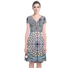 Stained Glass Window Library Of Congress Short Sleeve Front Wrap Dress
