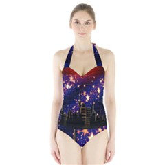 Star Advent Christmas Eve Christmas Halter Swimsuit by Nexatart