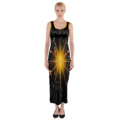 Star Christmas Advent Decoration Fitted Maxi Dress by Nexatart